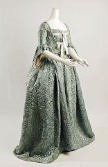 Robe à la Française, European, silk and cotton with metallic thread, ca.1750 Metropolitan Museum